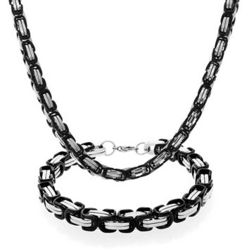 Mechanic Byzantine Urban Chain Necklace Bracelet Black Stainless Steel
