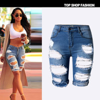 Tengo Womens High Waist Ripped Hole Washed Stretch Denim Shorts Jeans