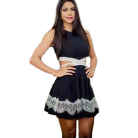 Sexy Sleeveless Summer Bandage Party Club Women Dress Summer White and Black Patchwork Cocktail Night Mini Dress for Female