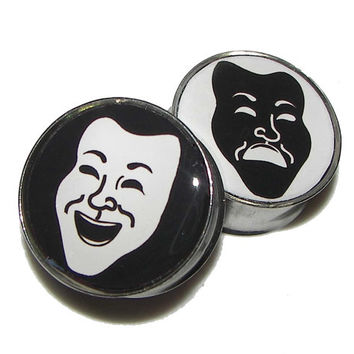 Comedy & Tragedy Theater Mask Plugs  1 Pair  by PlainJanePlugs