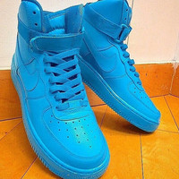 New Custom Painted All Blue All Sizes Nike Air Force 1's High