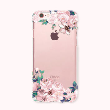 Crystal Clear iPhone 6 case, iPhone 6s case, iPhone 6 plus case, iPhone 6s plus case, iPhone 5S, iPhone SE Case, Galaxy S7 Case- Pink Roses