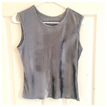 Vintage 90s holographic tank top shirt liquid metal stripes grunge boxy stretchy silky