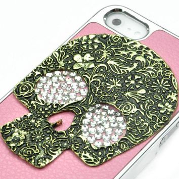 Rhinestone Leather Skull Case For iPhone 5