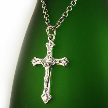 Mens Sterling Silver 925 Jesus Crucifix Cross Pendant Sterling Silver Chain Necklace Set P314SC