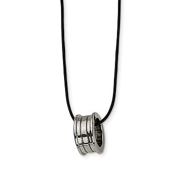 Tungsten Barrel and Black Leather Cord Necklace 18 Inch