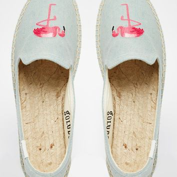 Soludos Flamingo Embroidered Espadrille Flat Shoes