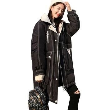 Women's puffer down jacket with loose fit and big pocket decor