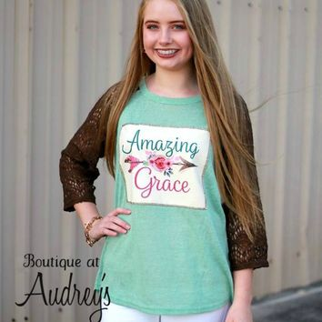 Mint Top with Amazing Grace Printed Applique and Brown Lace Sleeves