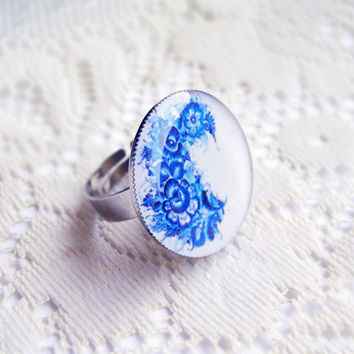 Gzhel painting ring  folk art blue flowers russian by CitrusCat