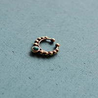 Faux tribal septum ring with green malachite / Ethnic septum / Septum jewelry / Nose jewelry / Tribal body jewelry / Belly dance jewelry