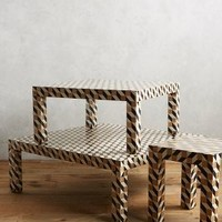 Tritone Inlay Collection by Anthropologie in Brown Motif Size: