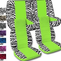 """Complete set of White """"Zebra"""" and lime green seat covers, steering wheel cover included. Universal set. Will not fit if you have side airbags"""