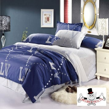 Navy Blue Modern Pattern LV Letters Bedding Set and Quilt Cover