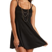 Strappy Paneled Skater Dress by Charlotte Russe - Black