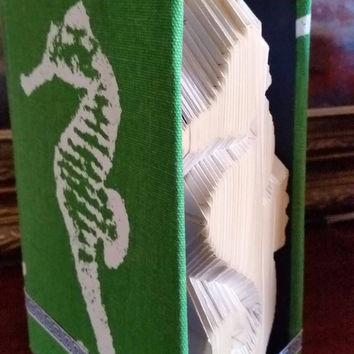 Seahorse- Preppy Navy and Green - Folded Book Art - Book Sculpture Paper Art Origami READY TO SHIP!