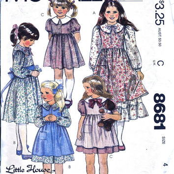 Little House On The Prairie - Girl's Dress And Pinafore - UNUSED Vintage Sewing Pattern - McCall's 8681 - Chest 23""