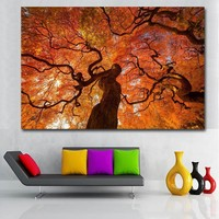 HD Prints Pop Art Big Red Tree Landscape Painting Printed On Canvas Prints And Posters Wall Art For Living Room Home Decor