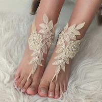 Champagne lace barefoot sandals wedding barefoot Flexible wrist lace sandals Beach wedding barefoot sandals beach Wedding sandals Bridal