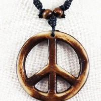 Tribal Leather Necklace Wooden Peace Sign Stone Pendant [Misc.]