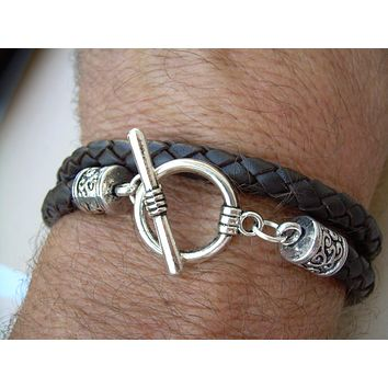 Brown Braided Leather Unisex Mens Womens Toggle Closure Bracelet Urban Survival Gear USA