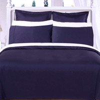 "Navy 550TC Olympic Queen Solid Bed in A Bag 90x92"" Egyptian cotton With Down Alternative Comforter"