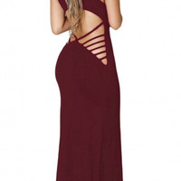 Womens Casual Hollowed Back Strappy Sleeveless Maxi Dress