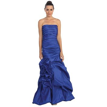 Elegant Dress Mermaid Floor Length Formal Royal Blue Gown Strapless Ruched