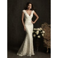 Mermaid Deep V-neck Satin Lace Wedding Dress - Star Bridal Apparel