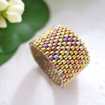 Gold Beaded Ring Band Iridescent Metallic by JeannieRichard