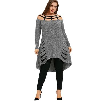 Gamiss Women T Shirt Casual Plus Size Lattice Shredding Tunic Top Striped Long Sleev Large Plus Size Spring New Fashions Tops