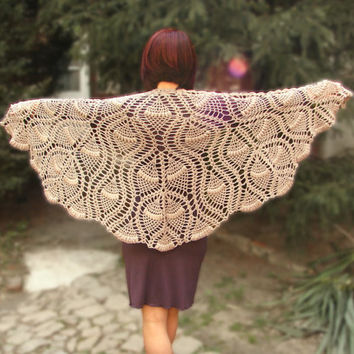 Beige crocheted wrap, evening shawl, triangle shawl, lace shawl, bridesmaid gift, bridal shawl, wedding