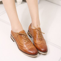 Women's Genuine Leather Flats Lace-Up Wax Skin Bullock Oxford Shoes