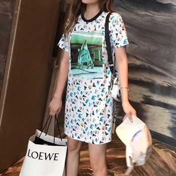 """Louis Vutitton LV"" Women Casual Fashion Multicolor Print Short Sleeve T-shirt Dress"