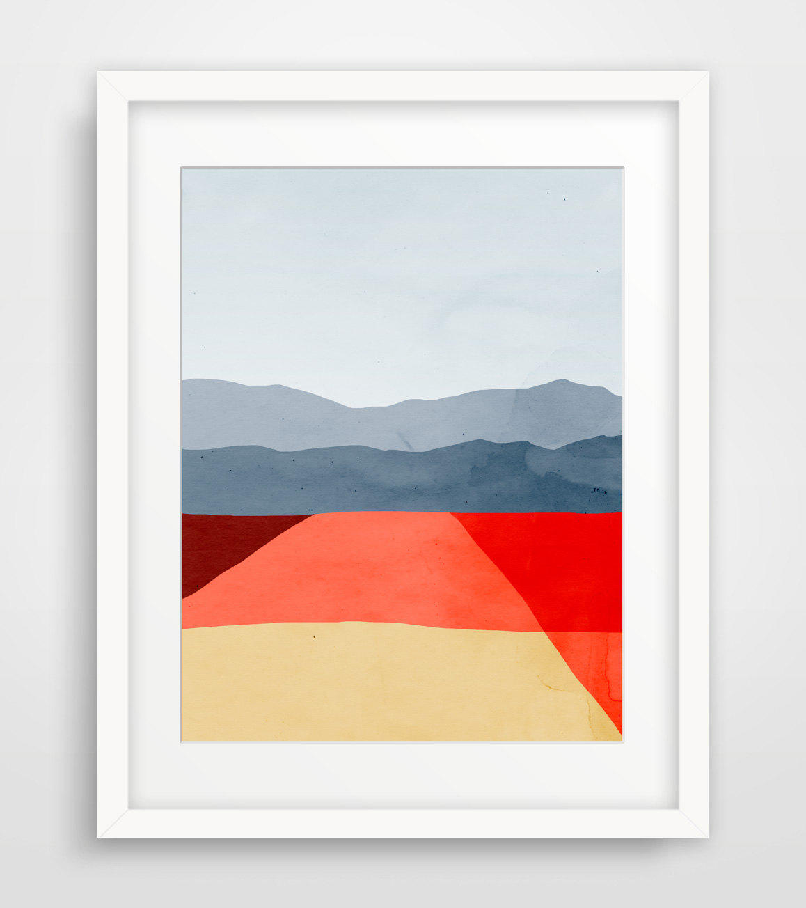 Abstract landscape wall art print mid from eve sand for Minimalist wall painting