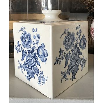 Blue & White Transferware Charlotte Biscuit Box / Tea Caddy Canister  Basket of Roses