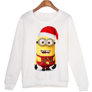 Harajuku Women Sweatshirts Jumper Cut Christmas Minions Print Casual Hoody Funny Long Sleeve White O-Neck Hoodies