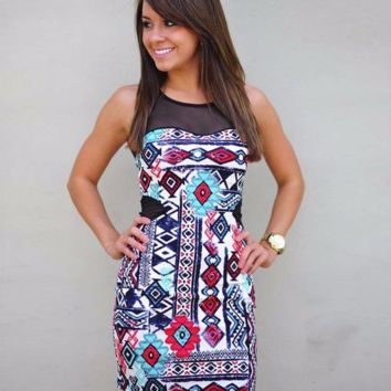 Lovely Print Design Sleeveless Slim Hip Dress