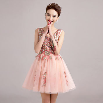 2015 new spring short bride pink V collar shoulders Tutu diamond summer Party Evening dress Bridesmaid Dresses 451245