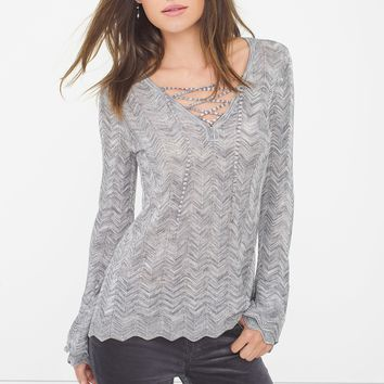 White House | Black Market Lace-Up Sweater