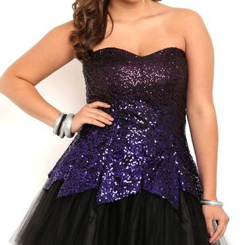 Plus Size Ombre Sequin Tulip Dress with Crinoline Skirt