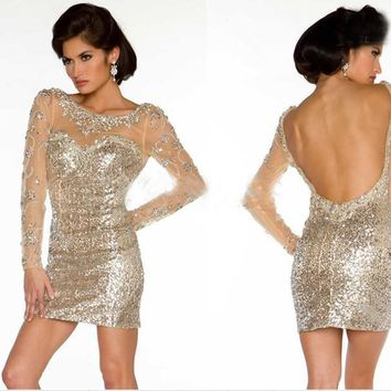 2016 Sexy Long Sleeves Gold Sequins Cocktail Dress Beaded Crystals Sheer Illusion Backless Mini Formal Evening Party Gown Sale