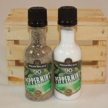 Salt & Pepper Shakers Upcycled from Hiram Walker Peppermint Schnapps Mini Liquor Bottles