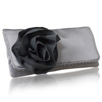 Silver and gray Georgia satin clutch bag