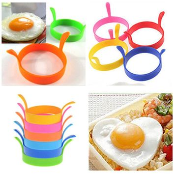 FoodyMine 1PCS Silicone DIY Egg Rings Breakfast Egg Molds Pancake Egg Moulds Cooking Tools Kitchen Accessories