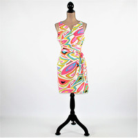 Psychedelic Print Wrap Dress Sleeveless Cotton Dress Women Large Summer Dress Midi Dress Womens Clothing