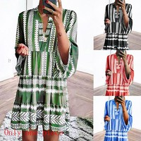 Fashionable Sexy Women's Dresses Digital Printed Stripe Four-color Dresses Only one piece