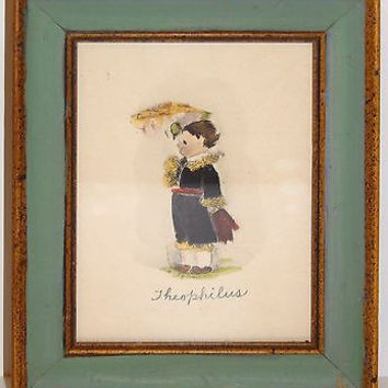 Theophilus Child Print Italian Florentine Frame Gilt Enamel Wood Hand Painted