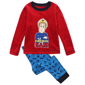 Retail new 2017 baby boys clothing sets fireman sam spring autumn fashion long T-shirt cartoon suits pajamas children kids