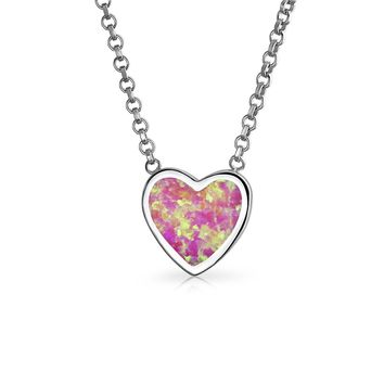 Heart Bezel Pink Created Opal Slide Pendant Necklace Sterling Silver